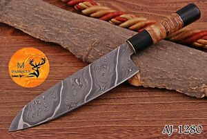 HAND FORGED DAMASCUS STEEL CHEF KNIFE WITH HORNE WOOD HANDLE AJ 1280