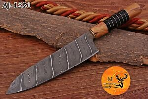 HAND FORGED DAMASCUS STEEL CHEF KNIFE WITH HORNE & WOOD HANDLE AJ 1281
