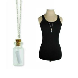 MESSAGE IN A BOTTLE NECKLACE Tiny Cork Glass Pendant 28 Long Silver Metal Chain $7.95