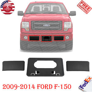 Front Bumper Guards Pads & License Plate Frame Bracket For 2009 2014 Ford F150