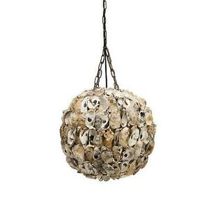 Round Ball Oyster Chandelier Pendant Hand Crafted Nautical Style