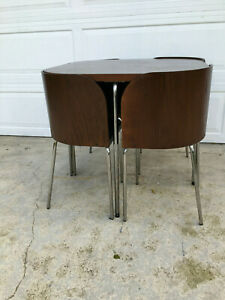 Wood Dining Table And Set Of 4 Bent Plywood Chairs Chrome Legs