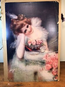 Antique Victorian Lithograph Print Picture Seeing Her Future Girl W Flowers $60.00
