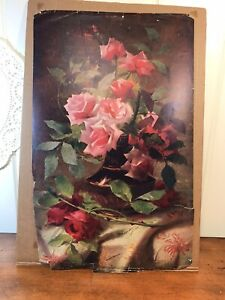 """Antique Victorian Lithograph Print Picture Roses In A Vase 10"""" X 17"""""""
