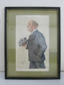 #4 Antique c. Late 1800s Vanity Fair Dapper Gentleman Lithograph Framed 13x17