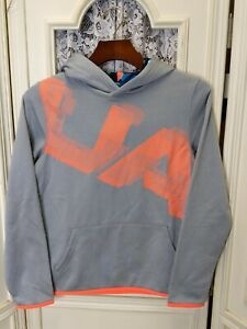 Under Armour Youth Boys Small Gray Big Logo ColdGear Hoodie NWT! $17.99