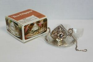 Vintage Lillian Vernon Silver Plate Tea Strainer With Tray NIP $9.99