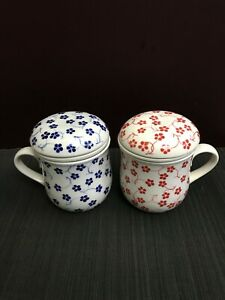 Hand-painted Blossom Ceramic Tea Mug Cup with lid & Infuser Filter