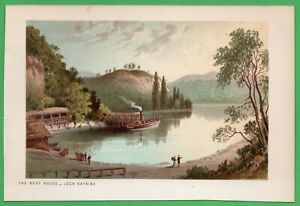 1891 Antique Chromolithograph Print View The BOAT HOUSE - LOCH KATRINE Scotland $9.00