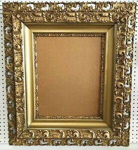 Antique Ornate Gold Gilded Gesso Decorative Picture Painting Frame for 16