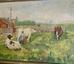 Antique Americana Bucolic Country Cow Landscape Oil Painting Farm Life Pasture
