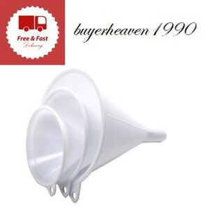 Plastic Funnel Set of 3 Heavy Duty Plastic Easy to Store Kitchen Funnels New