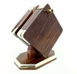 Hand Crafted Wooden Hanging Coaster and Corners Covered with Brass Metal (3x 3-i