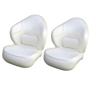 Deluxe Off White Almond Vinyl Boat Captain Bucket Fishing Seats Pair
