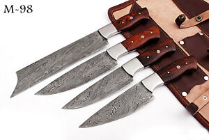 HAND FORGED DAMASCUS STEEL CHEF KNIFE KITCHEN SET W/ ROSE WOOD HANDLE - M 98