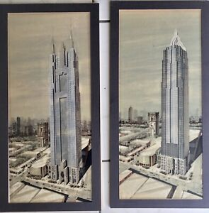 Rare Architectural 2 Original Drawings Paintings CHRYSLER BUILDING NYC Fine Art $1980.00