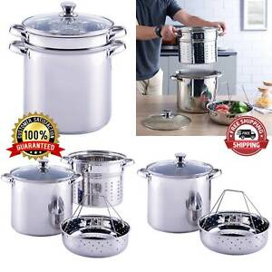 Ultra-durable Pasta Cooker Steam Pot Stainless Steamer 8 Quart Cooking 4 Pcs New