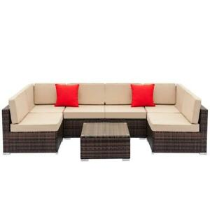7 PCS Rattan Wicker Sofa Set Sectional Couch Cushioned Furniture Outdoor US SHIP