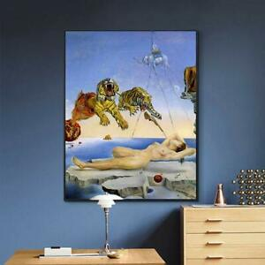 24quot;x32quot;Framed Canvas Giclee Print Art Wall Art by Salvador Dali Black Slim Frame $82.99