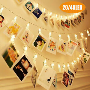 40 LED Photo Clip String Lights Fairy Lights Wire Wall Decor Hanging Strip Photo