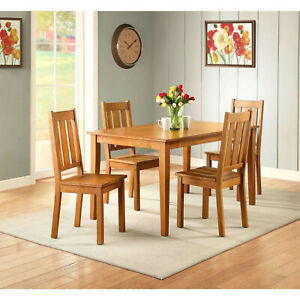 5 Piece Dining Room Table Set For 4 Farmhouse Wooden Kitchen Tables and Chairs