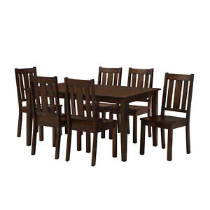 7 Piece Dining Room Table Set For 6 Farmhouse Wooden Kitchen Tables and Chairs $469.99