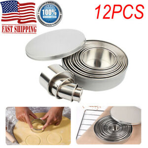 12Pcs Cookie Fondant Baking Tools Stainless Steel Mold Mousse Cake Ring Round