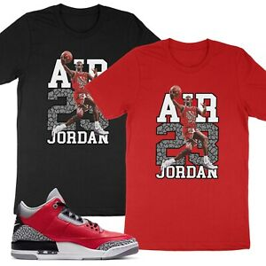 23 Unisex T Shirt Match Michael Air Jordan 3 Retro SE Unite Fire Red Cement