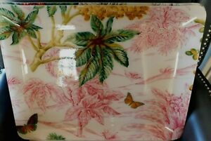 PIERRE FREY PARIS ACRYLIC TRAYCOVERED WITH TROPICAL SCENETABAGO PATTERNNEW