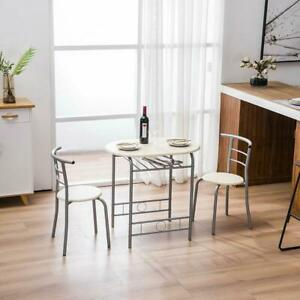 3 Piece Dining Set Wood Metal Table and 2 Chairs Kitchen Breakfast Furniture New