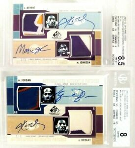02-03 SP GAME USED DUEL PATCH AUTO MICHAEL JORDAN LAKERS KOBE BRYANT BGS 8.5 / 8
