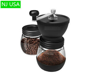 Portable Manual Coffee Grinder Stainless Steel Ceramic Burrs Two 13oz Glass Jars