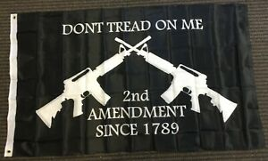 3x5 Dont Tread on Me Second Amendment M4 Rifle Double Sided Flag Protest Gun