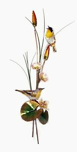 WALL ART - YELLOW THROATED WARBLERS METAL WALL SCULPTURE $175.00