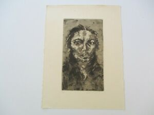 PORTRAIT WOMAN ABSTRACT ETCHING  SIGNED MODERNISM 1970'S EXPRESSIONISM  VINTAGE