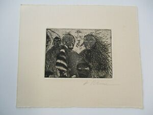 JAMES RISSER ABSTRACT ETCHING MODERNISM 1970'S EXPRESSIONISM VINTAGE FACE SIGNED