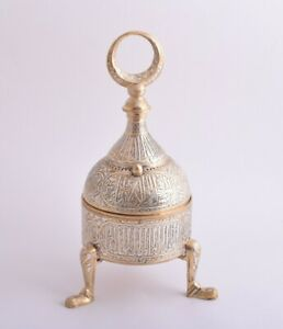 Islamic revival Mamluk Ottoman Damascus silver inlaid brass incense burner