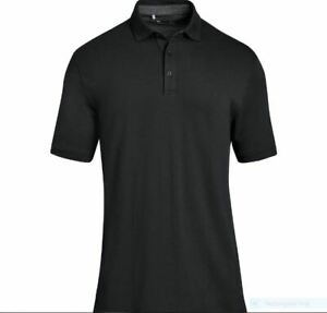 Under Armour Polo Shirt Men's Large, UA Charged Cotton Pique Polo Black Golf NWT $26.99