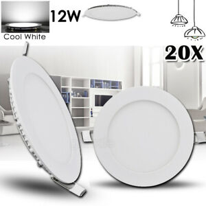 20x 12W LED Recessed Ceiling Panel Down Lights Bulb Lamp Fixture Cool White