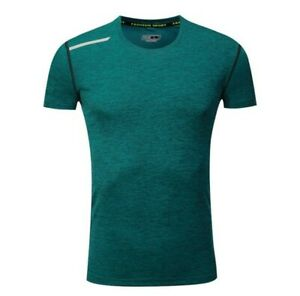 Mens Gym Running T Shirts Sport Quick Dry Stretch Fitness Muscle Dress Tee Tops $19.35
