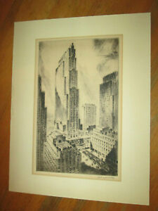 Vintage Original Etching Nat Lowell ROCKEFELLER CENTER SIGNED AAA Galleries