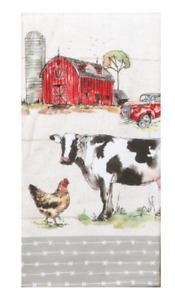 Country Life, Barn, Cow Kitchen Towel -Dual Purpose Flat Weave Front, Terry Back