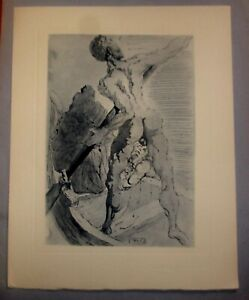 Dali Signed in Work Wood Block Lithograph Archangel Gabriel $125.00
