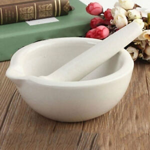 White Topping Actual Porcelain Mortar and Pestle Mixing Grinding Bowl Set 60mm