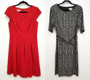 Dressbarn 2 Piece Lot Red and a Black amp; White Dresses Size 10