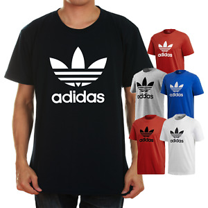 Adidas Men's Short Sleeve Trefoil Logo Graphic T Shirt Gray Blue Black Red White