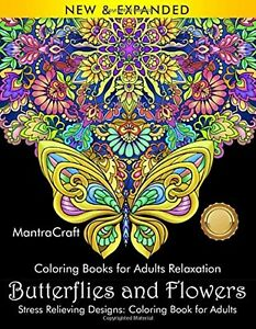 132 Pages Adult Coloring Book: Stress Butterflies Designs for Adults Relaxation