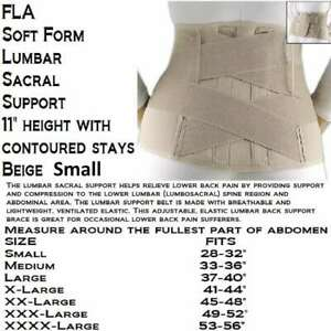 FLA Beige Small Lumbar Sacral Support 11quot; Height with Flexible Stays $40.45