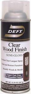 NEW DEFT 011-13 12 OZ SPRAY SEMI-GLOSS LACQUER CLEAR WOOD FINISH SEALER 2875409