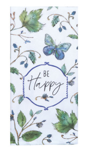 BE HAPPY Butterflies Dual Purpose Kitchen Towel - Flat Weave Front, Terry Back